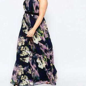 Little Mistress Dresses - Plus Size Purple Floral Maxi Size 20